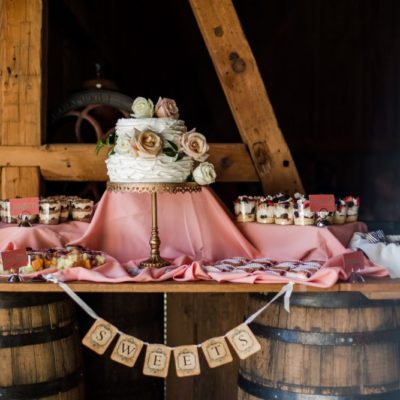 wedding cake and dessert table