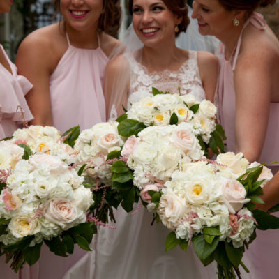 rose and peony wedding bouquets