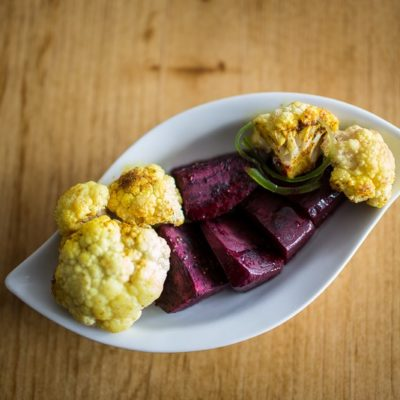 fried vegetables in plate