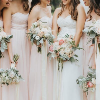 blush pink bridal party