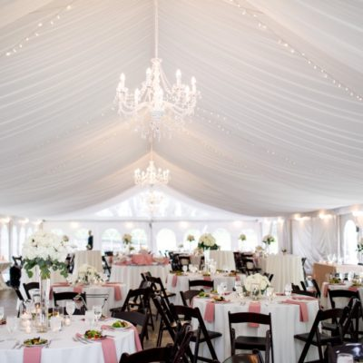 beautifully decorated wedding tent reception