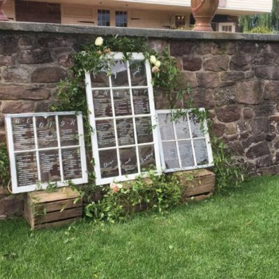 window pane wedding table settings