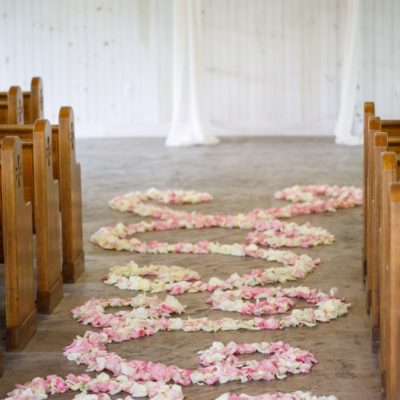 floral wedding aisle path